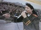 Fotografie monitoru po��ta�e a webov�ch str�nek, na kter�ch je sou�asn� prvn� d�ma ��ny v roce 1989, kterak zp�v� voj�k�m po masakru na Tchien-an-men (29. b�ezna 2013)