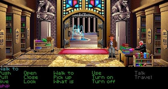 Indiana Jones: The Last Crusade je podle mnoh�ch nejlep�� adventura v�ech dob. Ve spodn� ��sti obrazovky vid�te ovl�dac� sch�ma, kter� bylo spole�n� pro v�t�inu klasik od Lucas Arts
