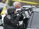 Tisíce policistů pátrají v Bostonu a okolí po Džocharu Carnajevovi, kterého viní z bombových útoků při maratonu. (19. dubna 2013)