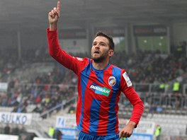 JE TAM. Plzeňský útočník Marek Bakoš se raduje ze svého gólu proti Jablonci.