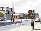 Místo bývalé koželužny v Kuklenách v Hradci Králové by se mohlo změnit na park a náměstí, vizualizace.