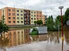 Rozvodněná Cidlina v Novém Bydžově. (3. 6. 2013)
