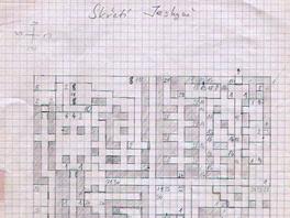 """Skřetí jeskyně, první úroveň hry Brány Skeldalu. """"Je to původní, dvacet let stará, ručně kreslená mapa, podle které pak vznikala hra."""""""