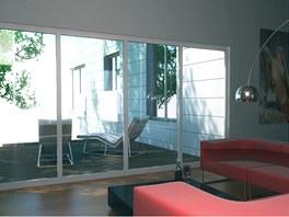 Vizualizace: pohled na terasu domu z obytn� ��sti
