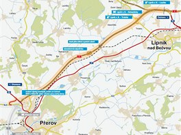Předposlední chybějící část D1 vede od Lipníku nad Bečvou k Přerovu.