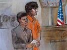 Na kresbě ze soudního stání 10. července stojí Džochar Carnajev v oranžových šatech vedle své obhájkyně Miriam Conradové.