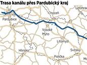 Koridor průplavu D-O-L se odpojuje z Labe v blízkosti pardubické městské části Hůrka, Pardubický kraj opouští u Vranové Lhoty na Moravskotřebovsku.