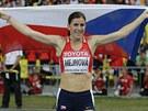 S VLAJKOU. Zuzana Hejnová po triumfu na MS v Moskvě v závodě na 400 metrů překážek.