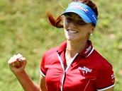 Česká golfistka Klára Spilková na turnaji  Pilsen Golf Masters 2013, akci série Ladies European Tour.