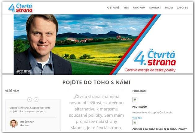 Webová stránka se snaží vyvolat dojem, že expředseda Strany zelených Martin
