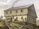 Labská bouda po přestavbě hrabě Harracha - novinkou byl altán nad hostincem. Obrázek z roku 1865.