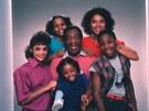 Hvězdy seriálu Cosby Show: Lisa Bonetová, Tempestt Bledsoe, Keshia Knight Pulliamová, Bill Cosby,   Phylicia Rashadová a Malcolm-Jamal Warner (1984)