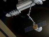 Vizualizace zachycení soukromé lodi Cygnus robotickým ramenem ISS