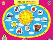 (1.1.) Alíkovo hravé učení, Nauč se první slova, menu rozděluje sekci na první slova o rodině, těle, domácnosti, z města, ze hřiště a parku, o hygieně, z hraček, z potravin a počasí.