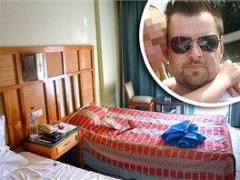 Hotelový pokoj v Egyptě, ve kterém bydlel Petr Kramný (ve výřezu)