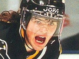 1993-1994. Jaromír Jágr v dresu Penguins na sběratelské hráčské kartičce