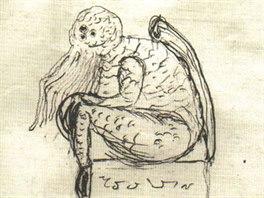 Náčrtek podoby Cthulhu z pera jejich tvůrce H.P. Lovecrafta.