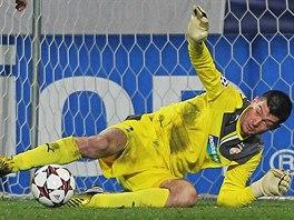 OPORA. Brank�� Mat� Koz��ik byl velkou oporou plze�sk�ch fotbalist� tak� p�i dom�c�m z�pase proti Bayernu. P�ipsal si spoustu jist�ch a t�k�ch z�krok�. Na hlavi�ku Maria Mand�uki�e v�ak nedos�hl.