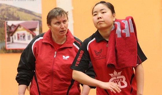 Marie Hrachová v roli trenérky Frýdlantu nad Ostravicí s někdejší hráčkou klubu Xiao Zhou.