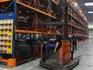 Sklad pneumatik v nové hale firmy Mitas v Otrokovicích.