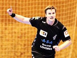 Lovosick� h�zenk�� Jan Landa se raduje z g�lu v utk�n� s KP Brno.