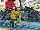 Místo nehody, kde zahynul Paul Walker (30. listopadu 2013).