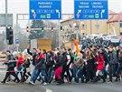 Hlavně studenti přišli v Hradci Králové demonstrovat před magistrát proti kácení stromů kolem řeky Orlice (11.12.2013).