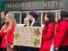 Hlavně studenti přišli v Hradci Králové demonstrovat před magistrát proti kácení stromů kolem řeky Orlice a pokračovali u sídla Povodí Labe (11.12.2013).