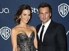 Kate Beckinsale a její manžel Len Wiseman (12. ledna 2014)