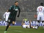 DOMENICO BERARDI. Útočník Sassuola a první hráč, který vstřelil AC Milán čtyři góly v jednom utkání.