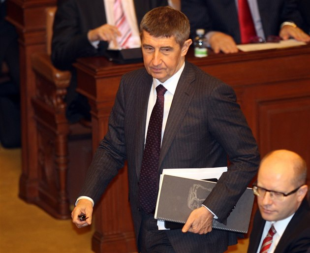 �éf ANO Andrej Babi� na mimo�ádn� svolané sn�movní sch�zi (21. ledna 2014).
