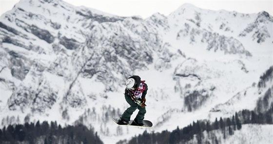 Šárka Pančochová na trati olympijského slopestylu.