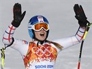 SPOKOJENÁ. Česká lyžařka Klára Křížová v cíli superobřího slalomu v areálu Rosa Chutor. (15. února 2014)
