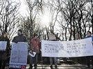 Protest proti porážce žirafího samce Mariuse před kodaňskou zoo