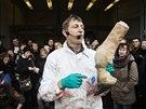Na porážku žirafy pozvali představitelé kodaňské zoo děti. Dostalo se jim odborného výkladu.