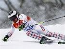 �TOK NA MEDAILI. Ond�ej Bank v ob��m slalomu na olympijsk�ch hr�ch v So�i.