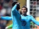 K SLUŽBÁM.  Emmanuel Adebayor z Tottenhamu (vlevo) oslavuje branku, kterou vstřelil Newcastlu.