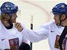 ROZPRAVA. Na tréninku si povídají hokejisté Jakub Voráček a Patrik Eliáš (vpravo).