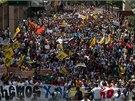 V Caracasu došlo k zatím největším protestům od loňského nástupu prezidenta Nicolase Madury (12. 2. 2014).