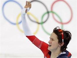 Česká rychlobruslařka Martina Sáblíková zvítězila v olympijském závodu na 5000 metrů. (19. února 2014)