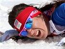 NADORAZ. Česká běžkyně na lyžích Eva Vrabcová-Nývltová dojela v olympijském závodu na 30 kilometrů volnou technikou na pátém místě. (22. února 2014)