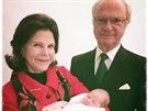�v�dsk� kr�l Carl XVI. Gustaf, kr�lovna Silvia a jejich druh� vnu�ka, princezna Leonore