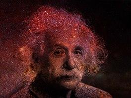 Albert Einstein m�l hlavu plnou vesm�ru. Ilustra�n� sn�mek.