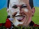Um�lec Nikolaj �amanika zdob� p�ed p�ipom�nkou prvn�ho v�ro�� od smrti prezidenta Ch�veze zed v Caracasu portr�tem v�dce  (4. b�ezna 2014)