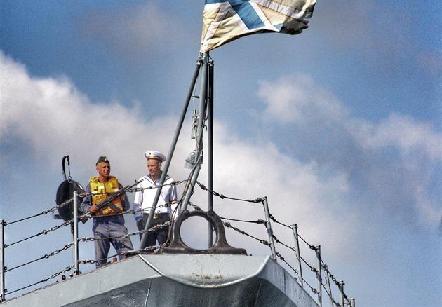 Posádka na lodi Moskva v p�ístavu Sevastopol v roce 2007