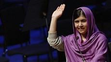 Malála Júsufzajová b�hem svého sobotního vystoupení na akci Women of the World.