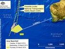 Oblast v Indick�m oce�nu, kde se obejvily mo�n� trosky letu MH370 (20. b�ezna 2014)