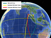 Předpokládaná trasa letadla, podle předpokládané rychlosti. Žlutá linka naznačuje rychlost 833 km/h, červená rychlost 740 km/h.