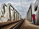 Zdvihací železniční most ve středočeském Kolíně (březen 2014)