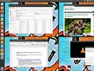 V Linuxu m�te k dispozici �ty�i pracovn� plochy, mezi kter�mi snadno p�ep�n�te, a m�ete tak m�t efektivn� rozprost�en� aplikace a dokumenty. Na sn�mku vid�te n�hled pro v�b�r p�i p�ep�n�n�.